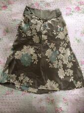 Luxurious MONSOON 100% Silk Khaki/ Floral Skirt-size 8. VGC