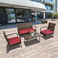 Patio Rattan Furniture Wicker 4 Pcs Sofa Conversat Set Cushioned Outdoors Table