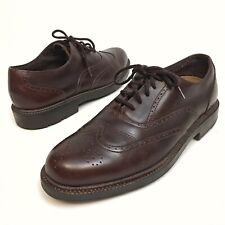 Hush Puppies Men's Shoes Dress Oxfords Wingtips Sz 9.5 EU43.5 Leather Brown EUC