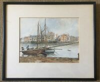 Antique Watercolour Sailing Fishing Boat Moored Signed Peake Ienton 22 Framed