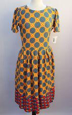 Large LuLaRoe Amelia Dress New Spring Dipped Geometric Orange Red Yellow Teal