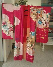 VTG~HANDMADE JAPANESE SILK BROCADE & CREPE FLORAL KIMONO ROBE~FUSHIA PINK