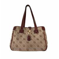 Dooney & Bourke Large Double Strap Tote Bag Purse Clasp Closure Brown Tan