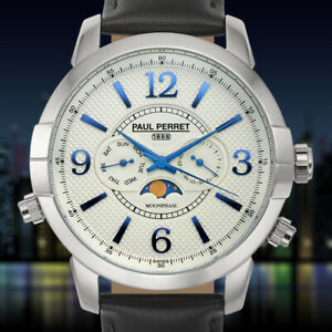 Paul Perret Swiss Moon phase Anatole Mens Watch(CLEARANCE) Available in 3 Colors