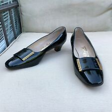 Vintage Hill and Dale Black Pumps Shoes 9B/Aa Chunky Shiny