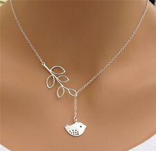 Pop Silver Branch Cross Chain Leaves Peace Bird Pendant Adjustable Necklace