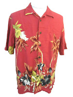 CARIBBEAN JOE Men Hawaiian ALOHA shirt pit to pit 23.5 L camp floral luau palms
