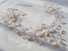 Ivory Bridal hair vine, head piece, Wedding hair jewellery accessory pearls UK
