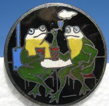 """SCARCE! """"FROGS SMOKING-DRINKING"""" 1940s VINTAGE FRENCH CHAMPLEVE ENAMEL BUTTON"""