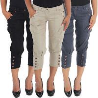 Damen Boyfriend Chino Bermuda 3/4 Capri Kurze Sommer Pump Hose Shorts Hüfthose