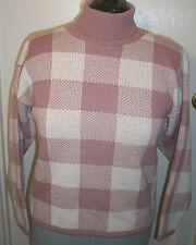 Bedford Fair ladies turtleneck sweater M 100% acrylic mauve,ivory squares bulky