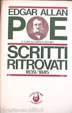 SCRITTI RITROVATI 1839 1845 Edgar Allan Poe Francesco Mei Letteratura Straniera