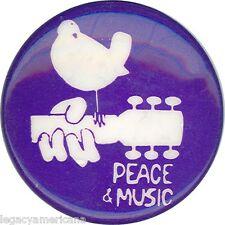 Circa 1970 Woodstock Peace & Music Vintage Rock Pinback (1278)