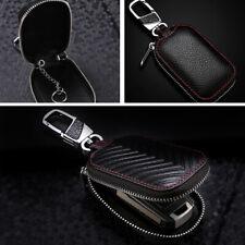 Black Genuine Leather Car Key Cover Holder Key Fob Case Bag Universal Vehicle