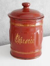 Antique French Enamelware Graniteware CANISTER / CHICORÉE (succory) Gilded