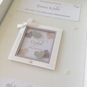 Personalised 15th Crystal Wedding Anniversary Card, Swarovski crystals, boxed