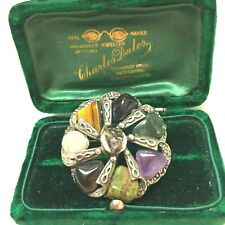 Vintage Jewellery Stunning ScottishCeltic Polished Agates Brooch Shawl Pin