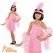Child Pink Flapper Costume Girls 1920s Gatsby Fancy Dress Outfit Age 12 - 14 Years