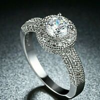 5A Cubic Zirconia 2Ct Solid 925 Sterling Silver Engagement Ring for Women