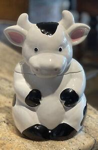 Black and White Cow 2-piece Ceramic Cookie Jar 🐮 Vintage