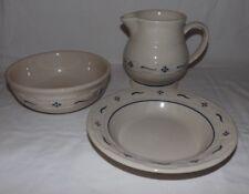 (3-pieces) longaberger ceramica blu HERITAGE Traditions grande caraffa & 2
