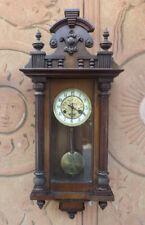 Pendolo orologio da parete epoca fine '800, struttura lavorata, numeri arabi
