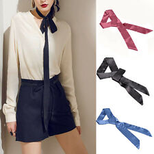 Women Fashion 100% Silk Long Skinny Stain Solid Tie Scarf Ladies Vintage Chiffon