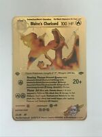Pokemon Blaine's Charizard Gold Metal Custom Card