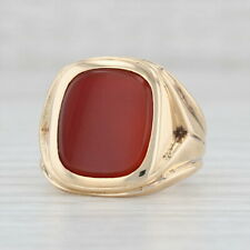 Red Carnelian Chalcedony Signet Ring 14k Yellow Gold Size 7 Engravable