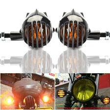1 paire moto Noir Grill Bullet clignotant Ambre pour Harley Honda Suzuki