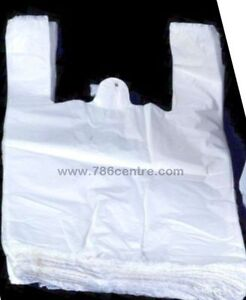 """Quality White Plastic Vest Carrier Bags Supermarket Style, Jumbo Size, 12x18x24"""""""
