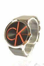 Calvin Klein K3M211T3 Minimal Black Dial Dark Grey Silicone Strap Men's Watch