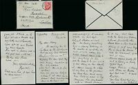 GB KG5 DOWNEY 1912 MOURNING ENV + LETTER WALES MILTON CDS..SOUTHSEA + REDIRECTED