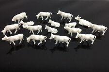An8701B 100pcs 1:87 UnPainted White Farm Animals Cows Ho Scale