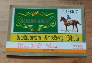 Oaklawn Park Jockey Club Season Guest Card Ticket Hot Springs Horse Racing 1965