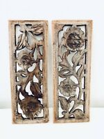 Rare Beautiful Wall Wooden Antique 2 Panels Floral Handcarved Vintage Panels