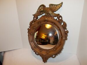 "Vintage Large Syroco 4007 Eagle Federal Convex Mirror, 21"" T, 15"" W - 13 Balls"