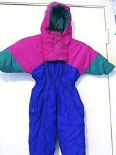 THE RUGGED BEAR VINTAGE PURPLE PINK GREEN TODDLER SNOW SKI SUIT SIZE 2