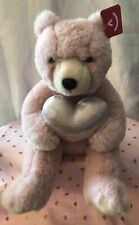 "Aurora Pink Blush Teddy Bear Holding Pink Sparkly Heart 10"" Valentines Day Plush"