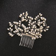 Wedding Party Retro Women Faux Pearl Branch Hair Clip Comb Headwear Accessories