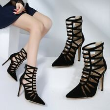 Black Women Ladies Peep Toe Cut Stilettos Strappy Boots High Heels Sandals Sizes