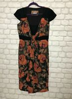 M&S PER UNA LADIES DRESS SIZE 12 BLACK & ORANGE MIX FLORAL PRINT PARTY OCCASION