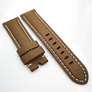 24mm Brown Canvas Genuine Leather White Stitch PAM Strap for RADIOMIR LUMINOR
