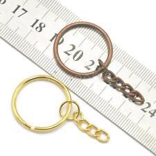 12 Keyring Blanks Key Chains Findings Split Rings 4 Link Gold & Copper Tone