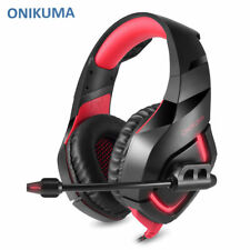 Red ONIKUMA  Gaming Headset with Mic LED Headphones for Laptop PS4 Xbox Mac UK