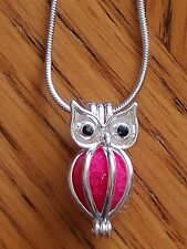 "Pearl Cage Pendant Brass Owl 925 Silver Plated Snake Chain 18"" Aromatherapy"