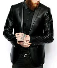 Mens Fashion Genuine Soft Lambskin Real Leather Blazer Jacket Two Button