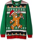 """Ugly Christmas Sweater """"CHRISTMAS"""" Print Size-XL, Pullover Green"""