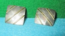 Vintage Sterling Silver Square Pair Pierced Post Earrings Simple Brass Detail