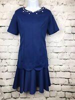 Vintage 1960s Dress Blue Drop Waist Look Handmade Scalloped Beaded Neck  Small